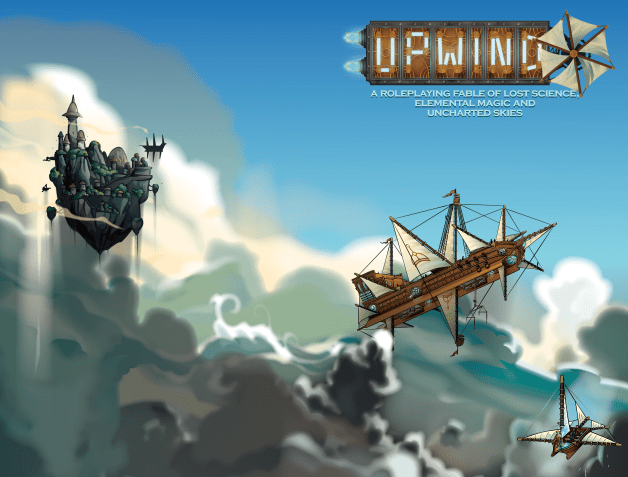 The cover for upwind. Shows a ship in the sky with a floating city in the distance