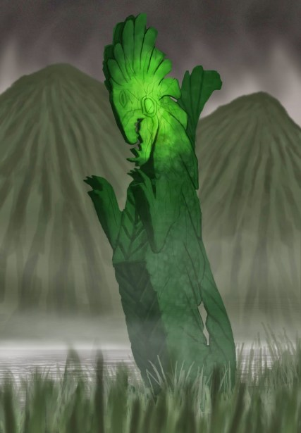 A green reptilian statue near a lake with mountains in the background