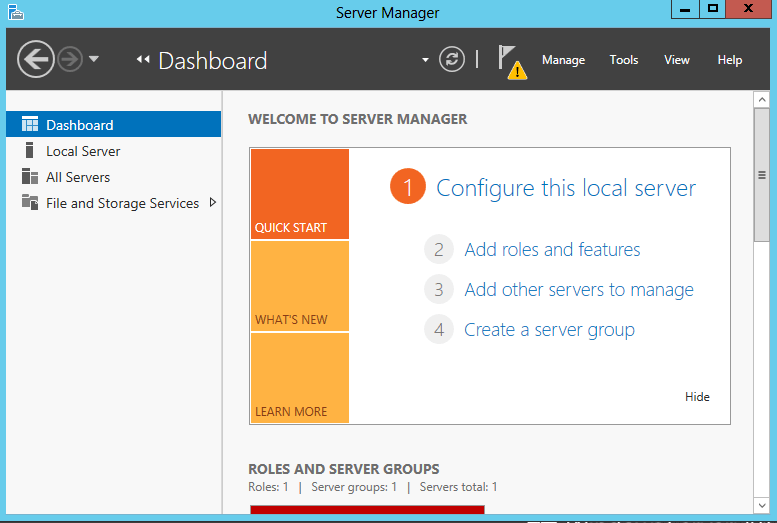 Windows Server 2012 Local Server Manager