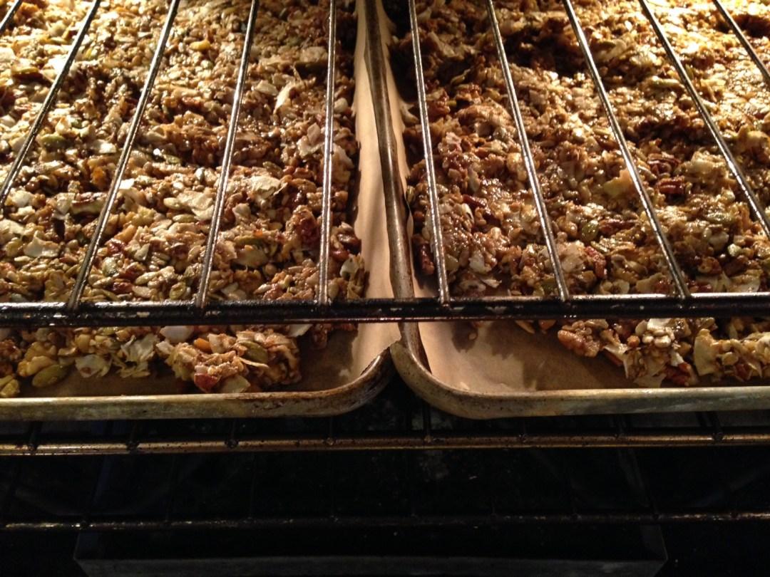 chai granola baking in oven
