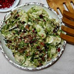 Shredded Brussels Sprouts Salad With Bacon And Pomegranate Seeds