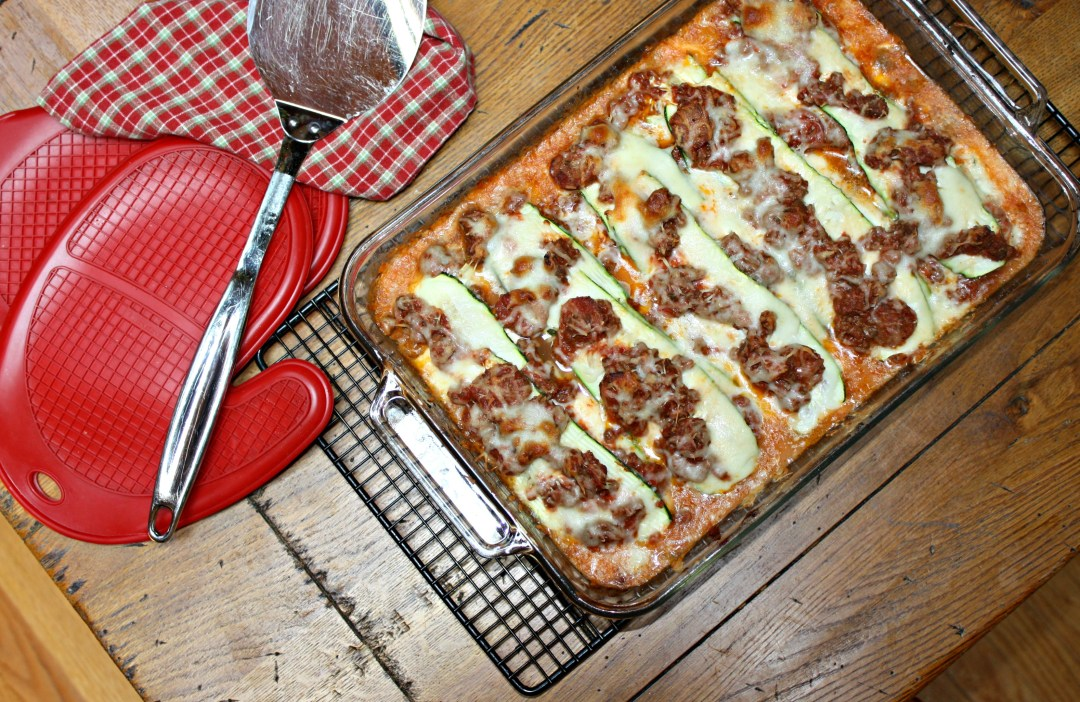 edited zucchini lasagna overhead pan