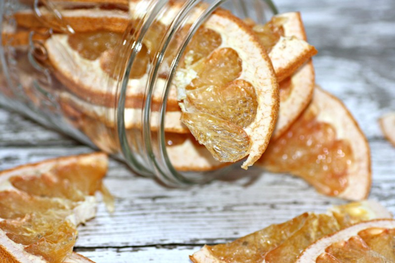 dehydrated grapefruit spilling from jar