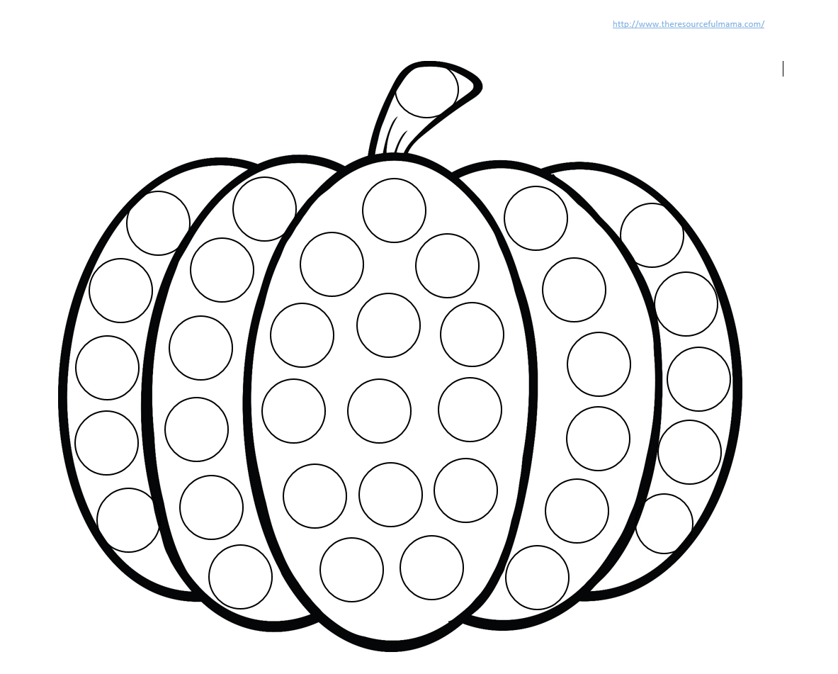 Pumpkin do a dot worksheet the resourceful mama for Do a dot art coloring pages