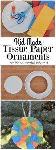 Kid made tissue paper-paper plate homemade Christmas ornament