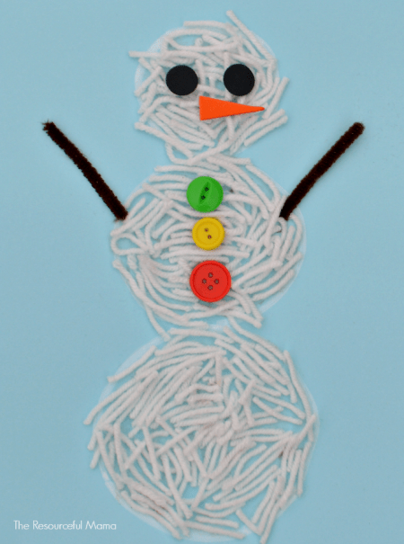 snowman kid craft made from yarn