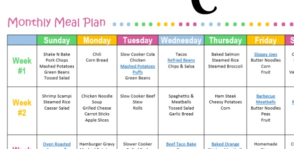 Monthly Meal Plan for Dinner {Free Printable} - The Resourceful Mama