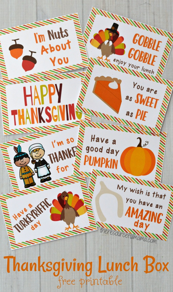 Thanksgiving Lunch Box Notes - The Resourceful Mama