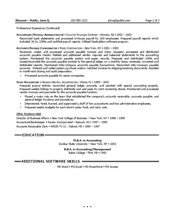 resume format for accountant in dubai revenue accountant resume - Professional Accounting Resume