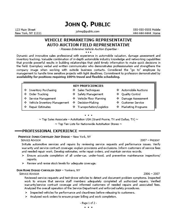remarketing resume sample