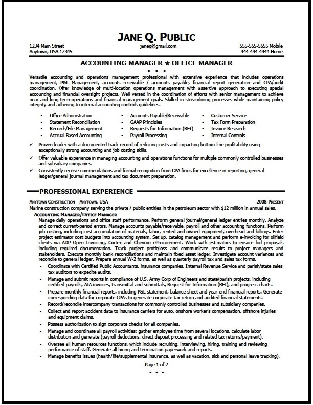 Accounting Manager Resume Sample - The Resume Clinic - office manager sample resume