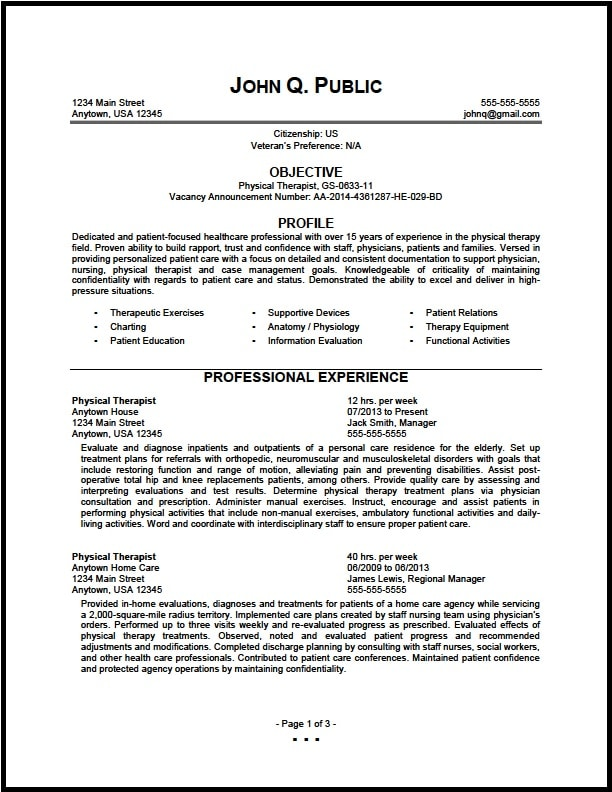 Federal Physical Therapist Resume Sample - The Resume Clinic - resume samples for government jobs