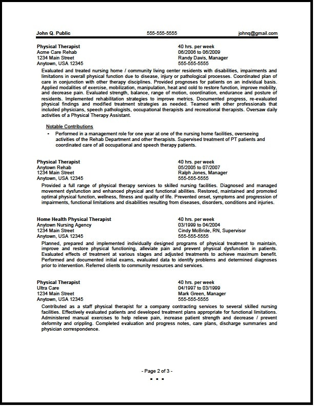 Federal Physical Therapist Resume Sample - The Resume Clinic - Federal Resumes Examples