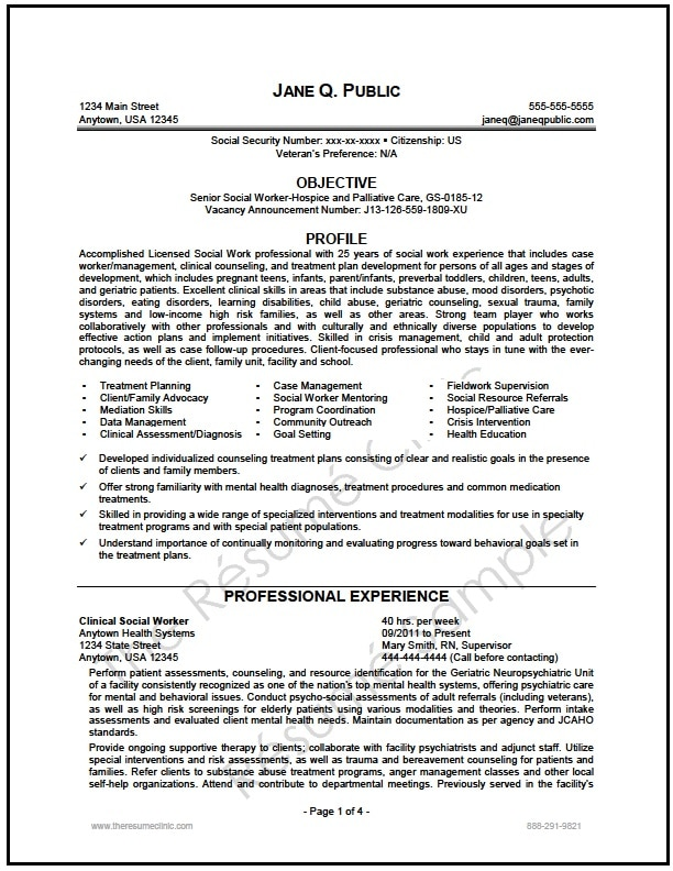 Federal Social Worker Resume Writer Sample - The Resume Clinic - Federal Resumes Examples