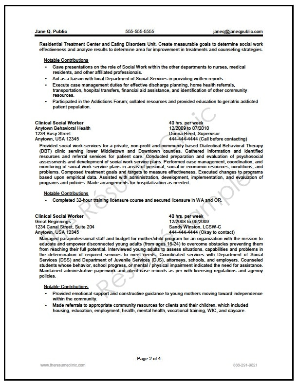 Federal Social Worker Resume Writer Sample - The Resume Clinic - certified resume writer