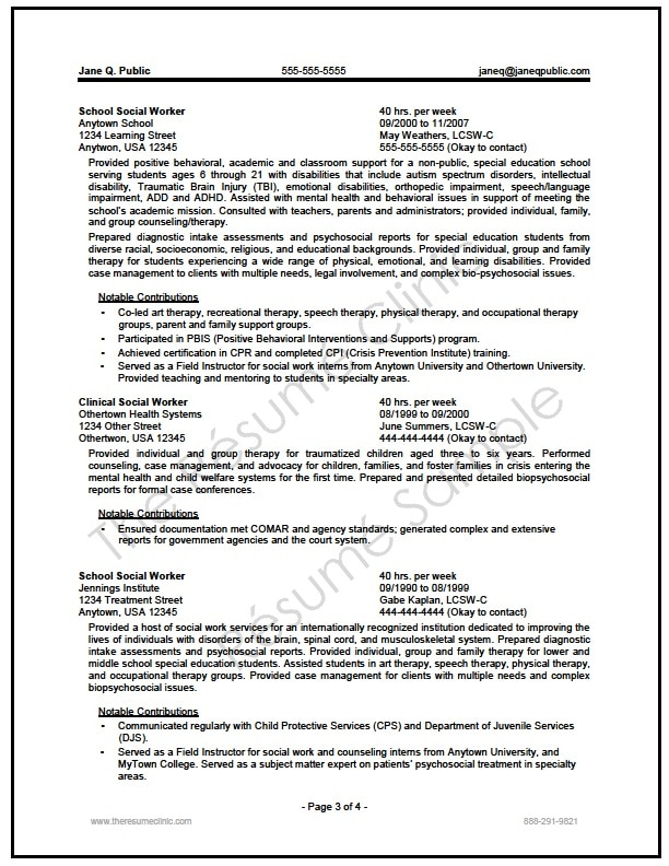 Federal Social Worker Resume Writer Sample - The Resume Clinic - social worker resume sample
