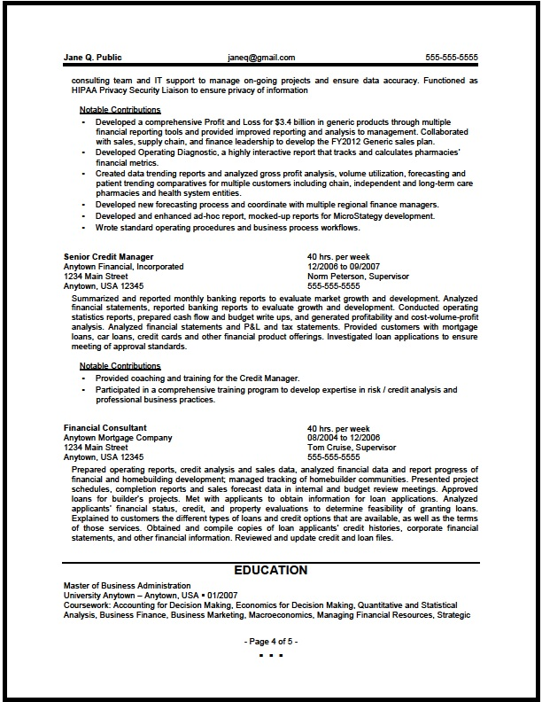Federal Financial Analyst Resume Sample - The Resume Clinic - resume for finance