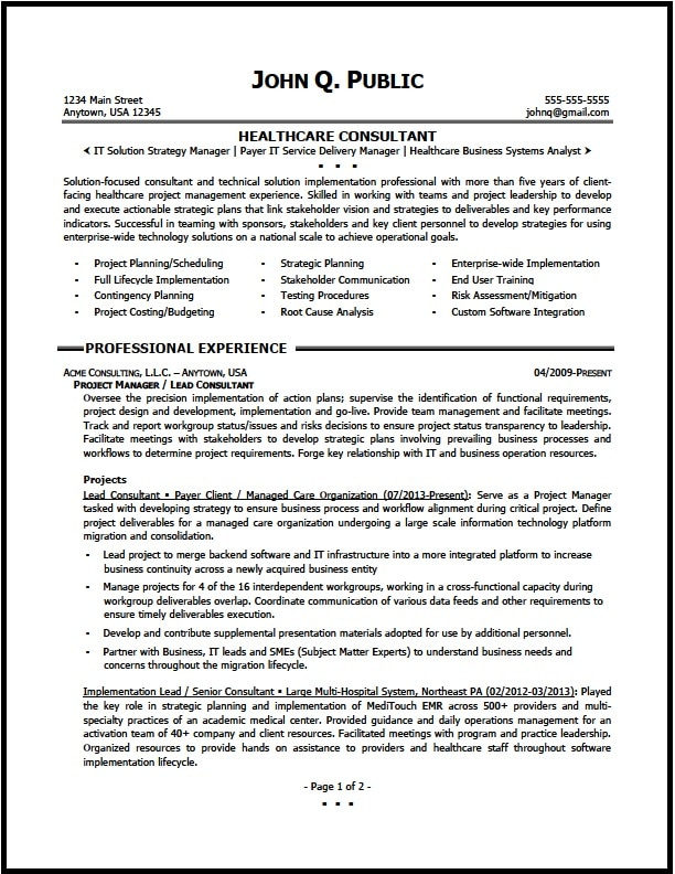 Healthcare Consultant Resume Sample - The Resume Clinic