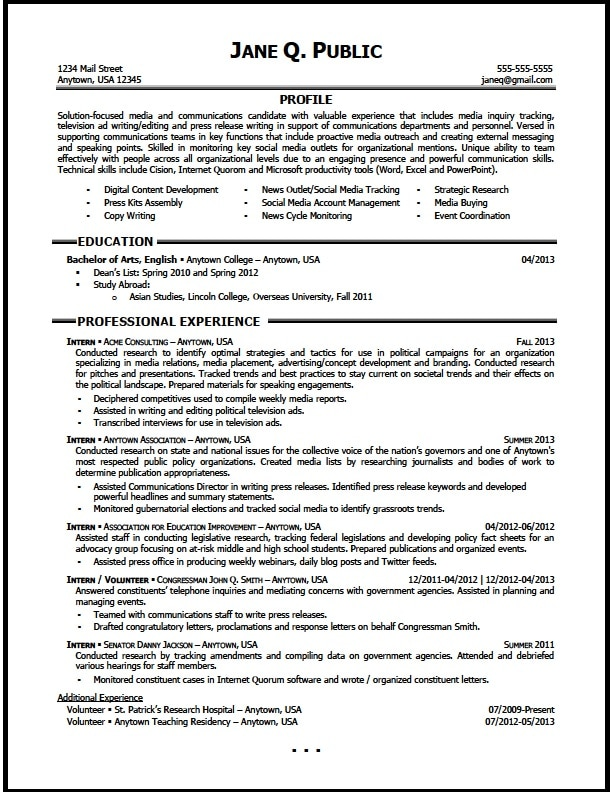 Media and Communications Resume Sample - The Resume Clinic - Entry Level Resume