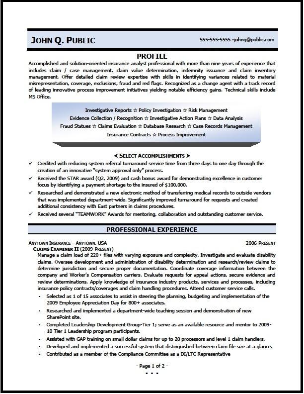 medical claims adjuster resume sample
