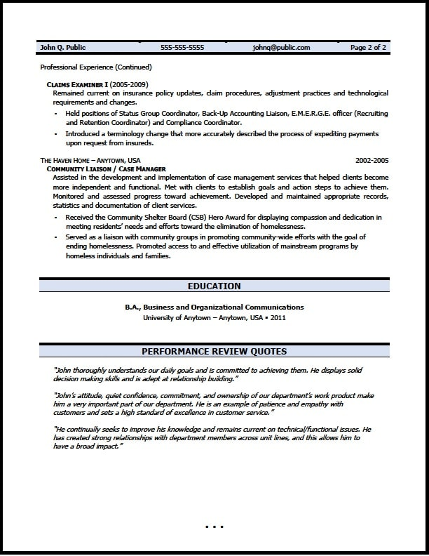 claims examiner resume - Goalgoodwinmetals