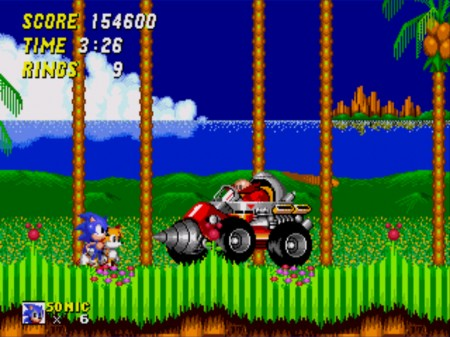 Sonic and Tails face Doctor Robotnik's first contraption