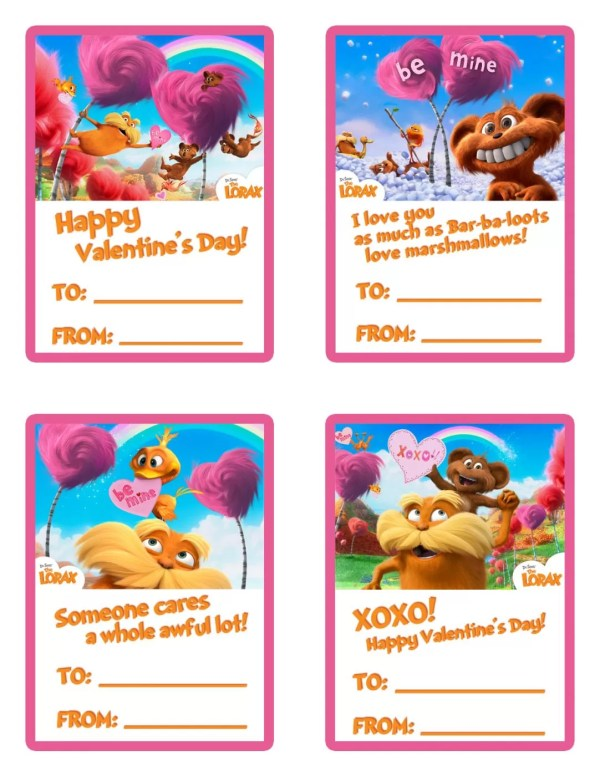 FREE  The Lorax Printable Valentines Day Cards. 1275 x 1650.Free Valentine's Day Card Download
