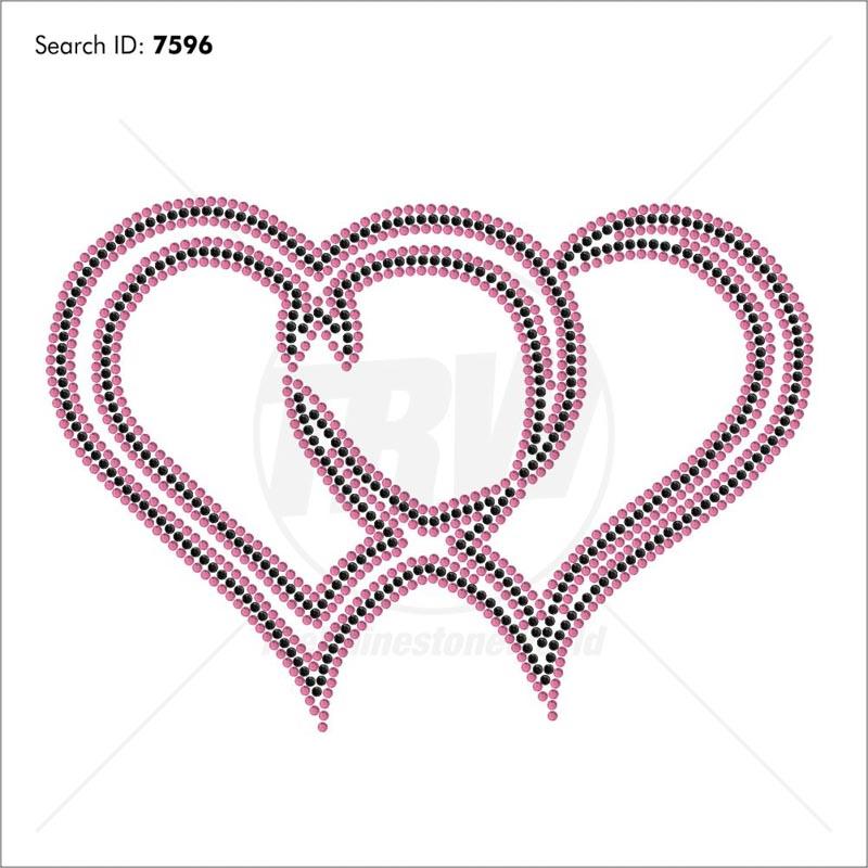 2 Hearts Rhinestone Design - Pre-Cut Template