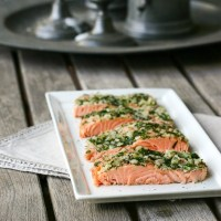 Slow Roasted Salmon with Shallots, Dill, Tarragon and Parsley