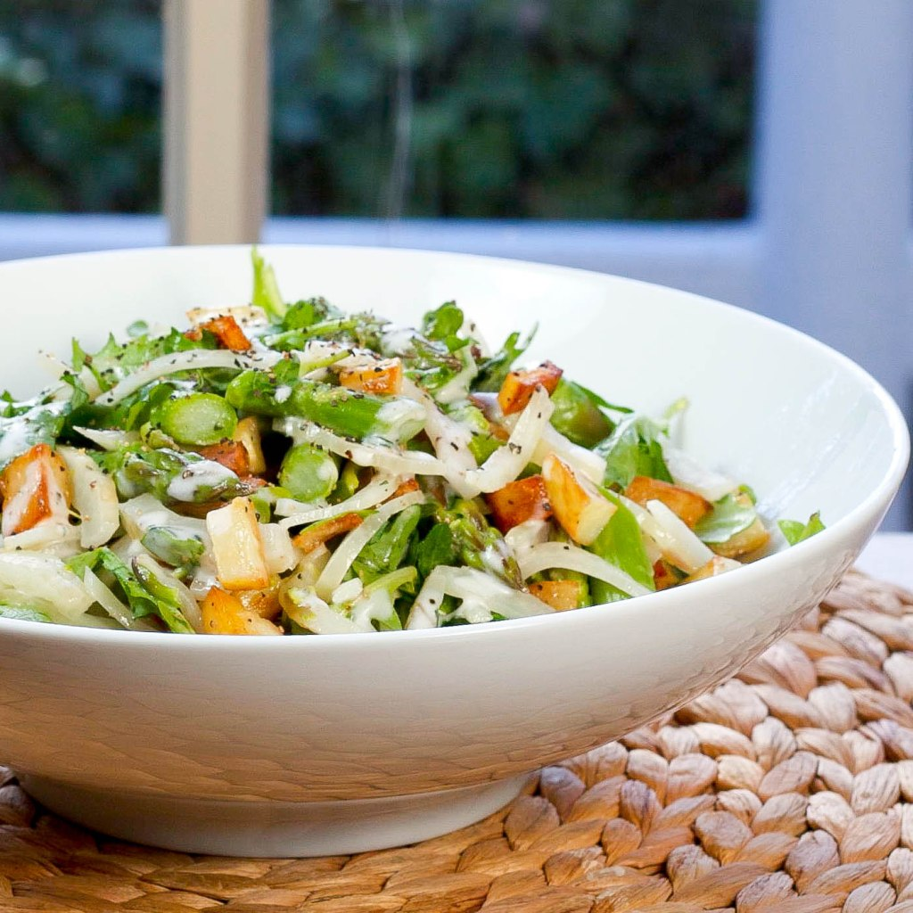 Asparagus Salad with Arugula, Fennel, Crispy Potato, and a Creamy Italian Dressing