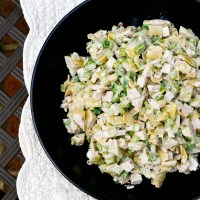 Minced Turkey Salad with Marinated Artichoke Hearts
