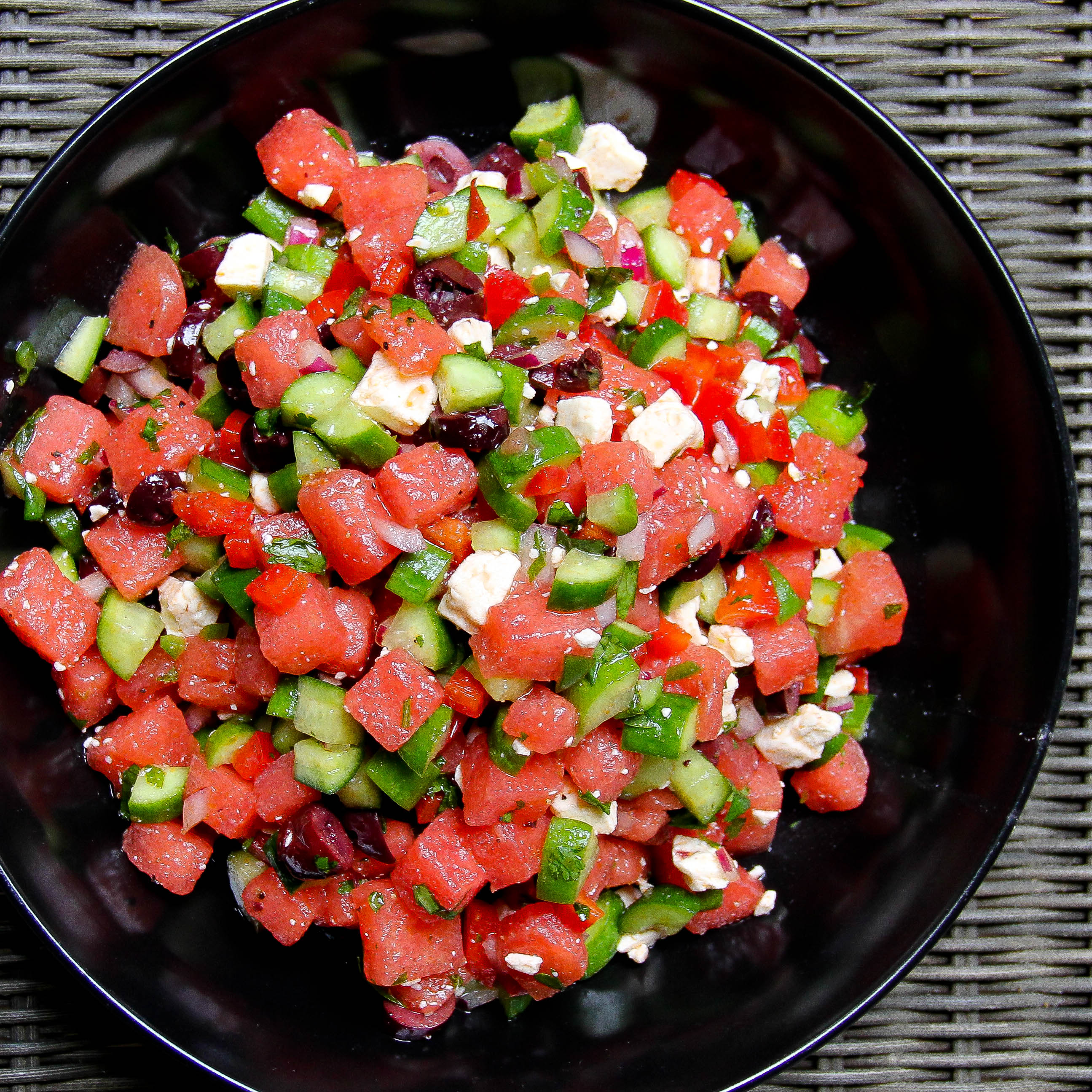 Watermelon Salad with Cucumbers, Olives and Feta