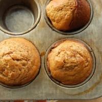 banana muffins with peach jam swirl.