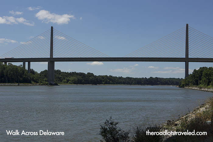 A bridge spans the Chesapeake and Delaware Canal