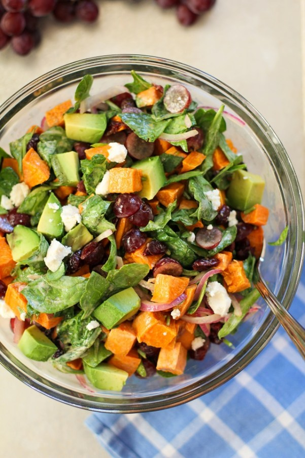Roasted Sweet Potato Salad with Spinach, Grapes, Dried Cranberries ...