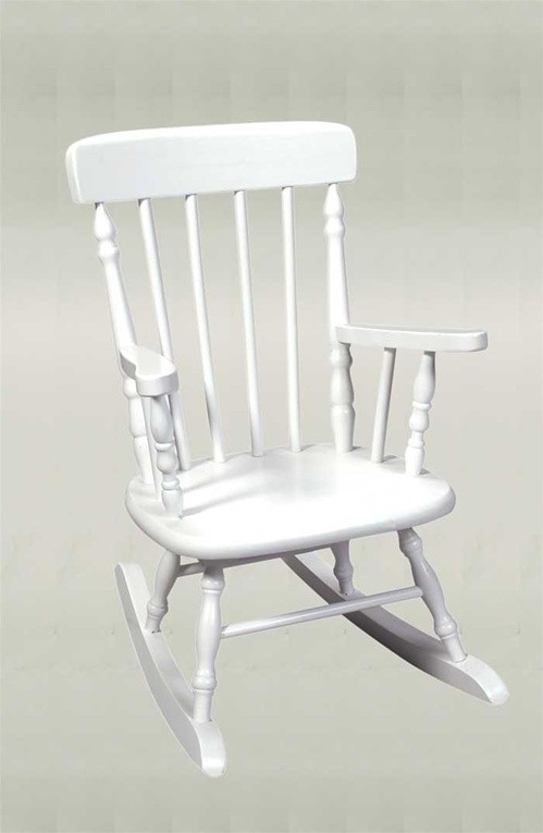 Deluxe White Spindle Kid39s Rocking Chair The Rocking