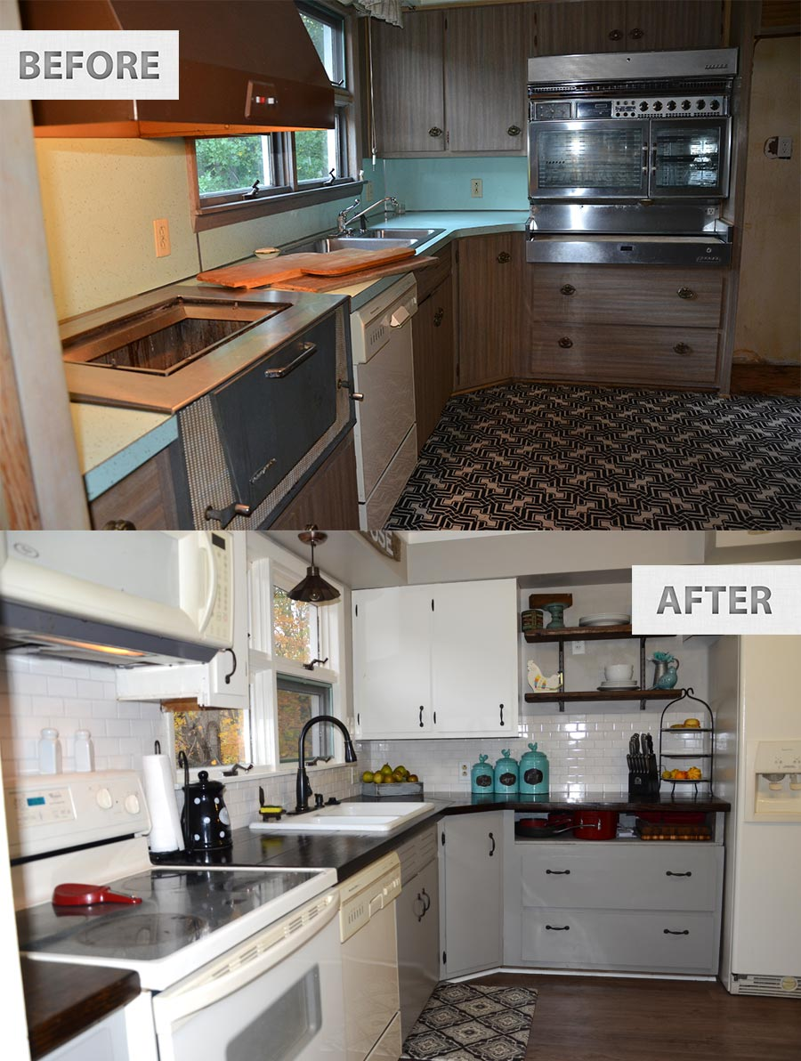This old famhouse one year later the rodimels family blog for Inexpensive kitchen renovations