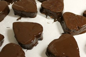 Chocolate Cherry Marshmallow Hearts dipped