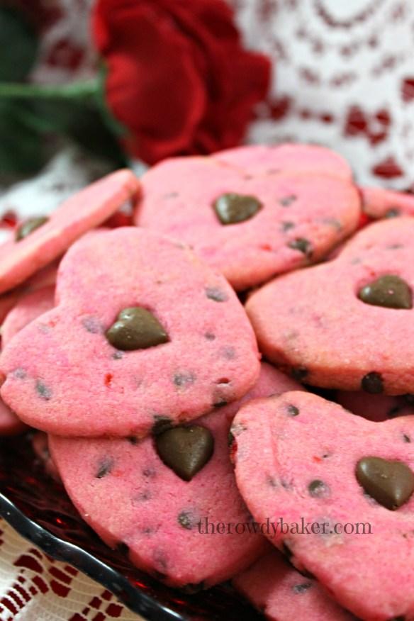 Chocolate Cherry Tea Cookies with chocolate hearts The Rowdy Baker