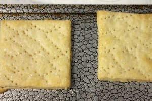 Bake until they just start turning golden brown at the edges. (They kinda look like saltines!)