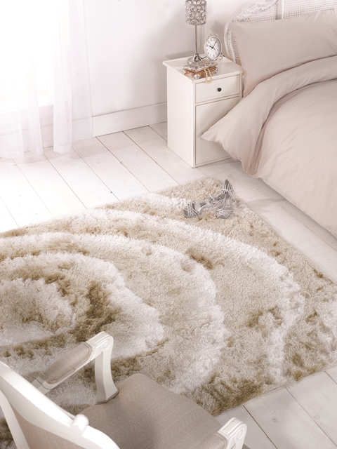 Cheap Luxury Beige Ivory 3d Effect Extra Soft Shaggy Rug