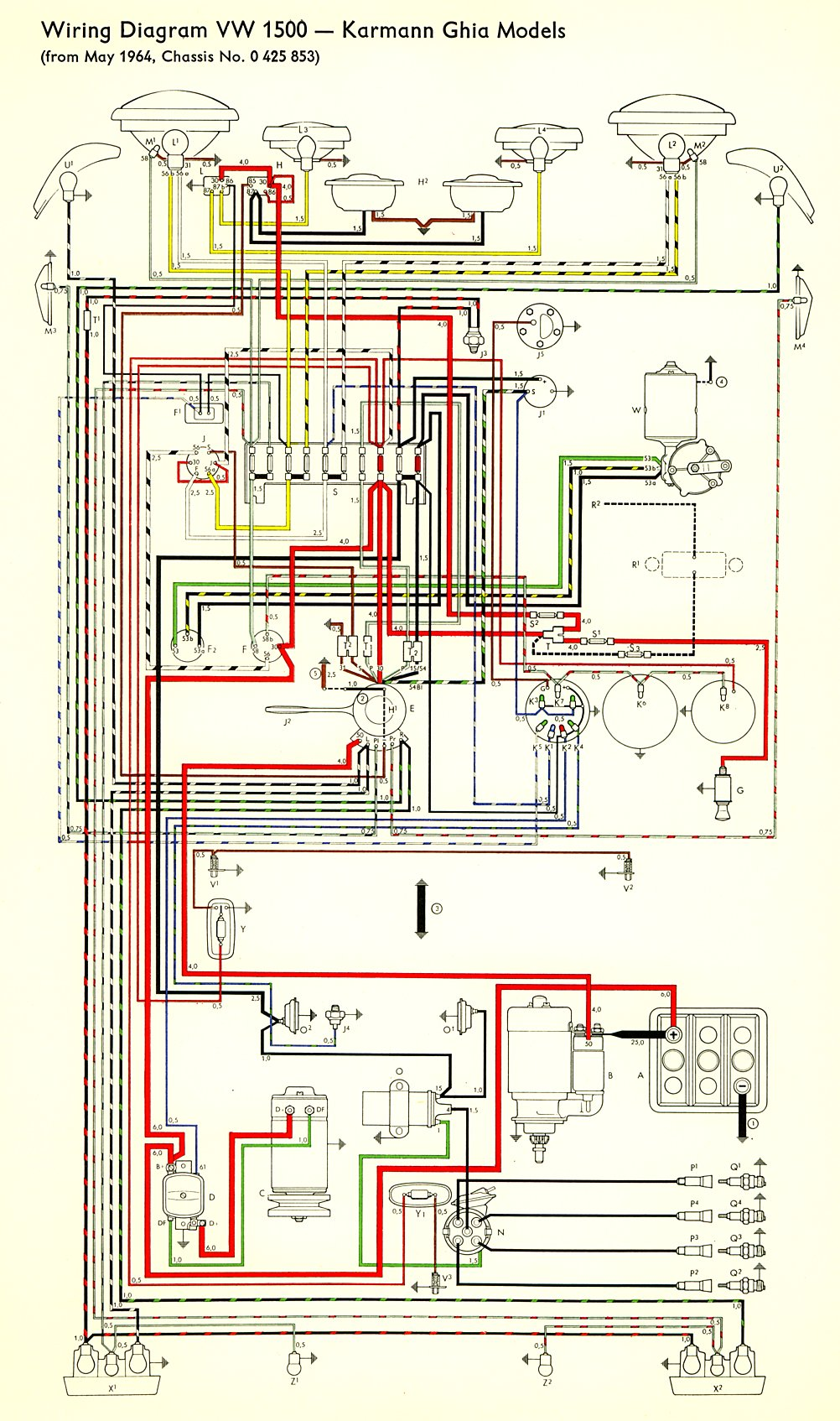 for a 64 vw bug wiring diagram