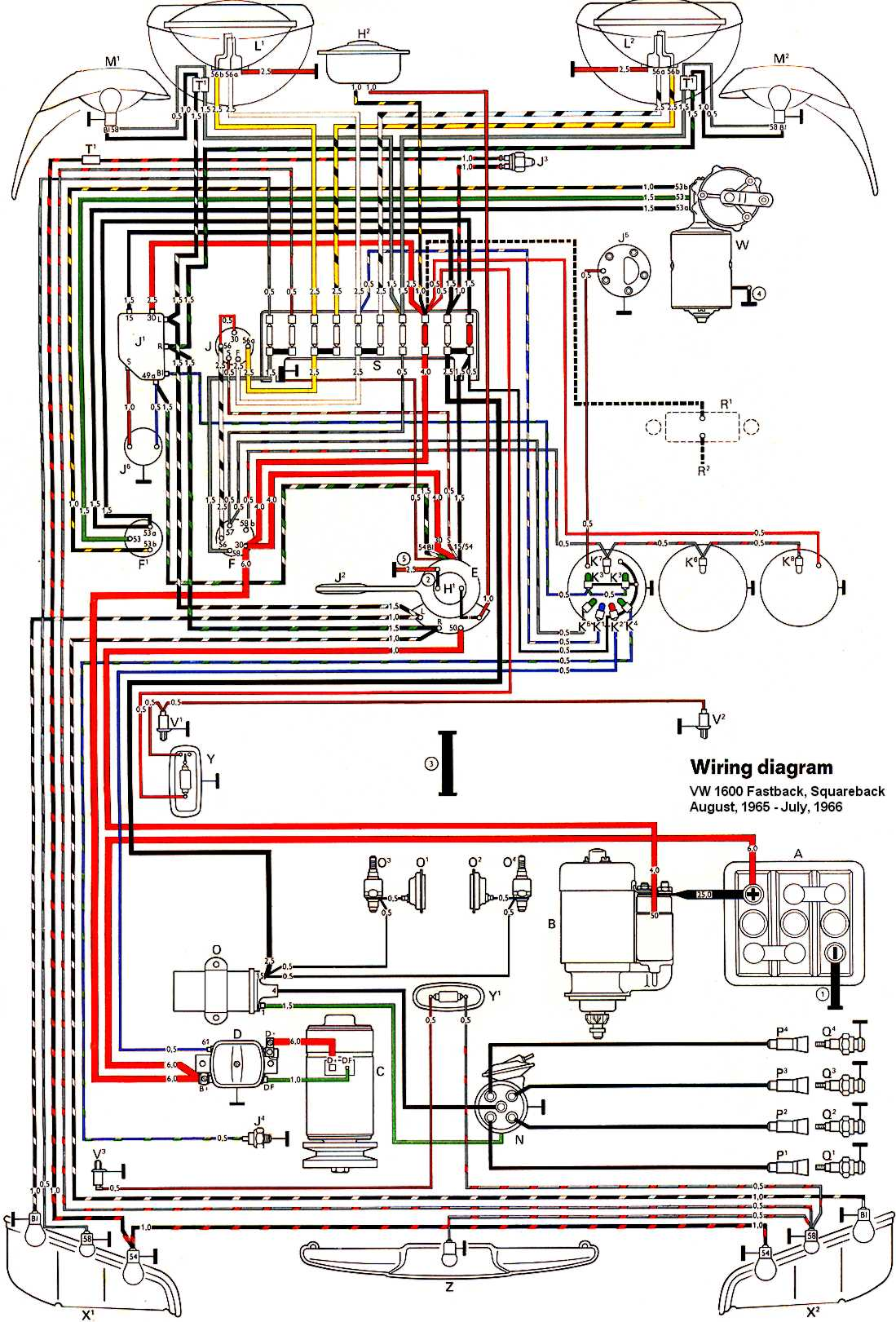 ledningsdiagram in color 1964 vw bug beetle convertible the