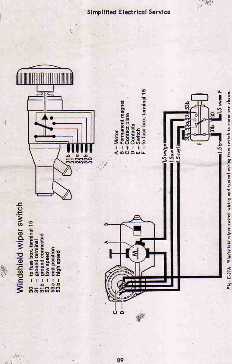 vw thing wiper motor wiring diagram