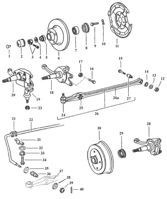 TheSamba  Gallery - Super Beetle Front Suspension Exploded Diagram