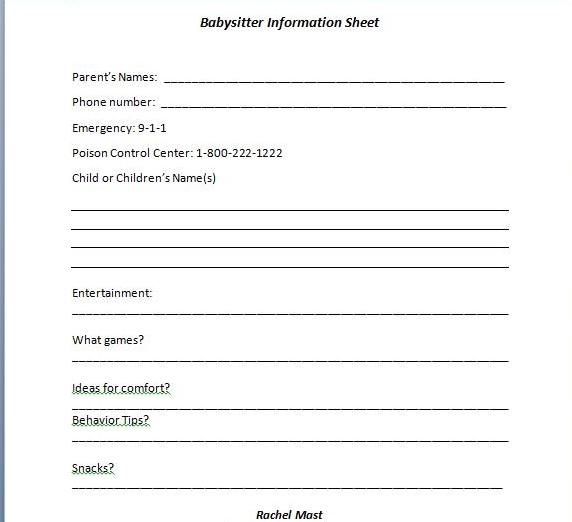 Job Information Sheet - babysitting information sheets