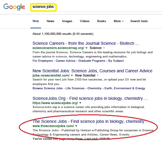 TheScienceJobs ranked 4 among the international career sites - leading job search sites