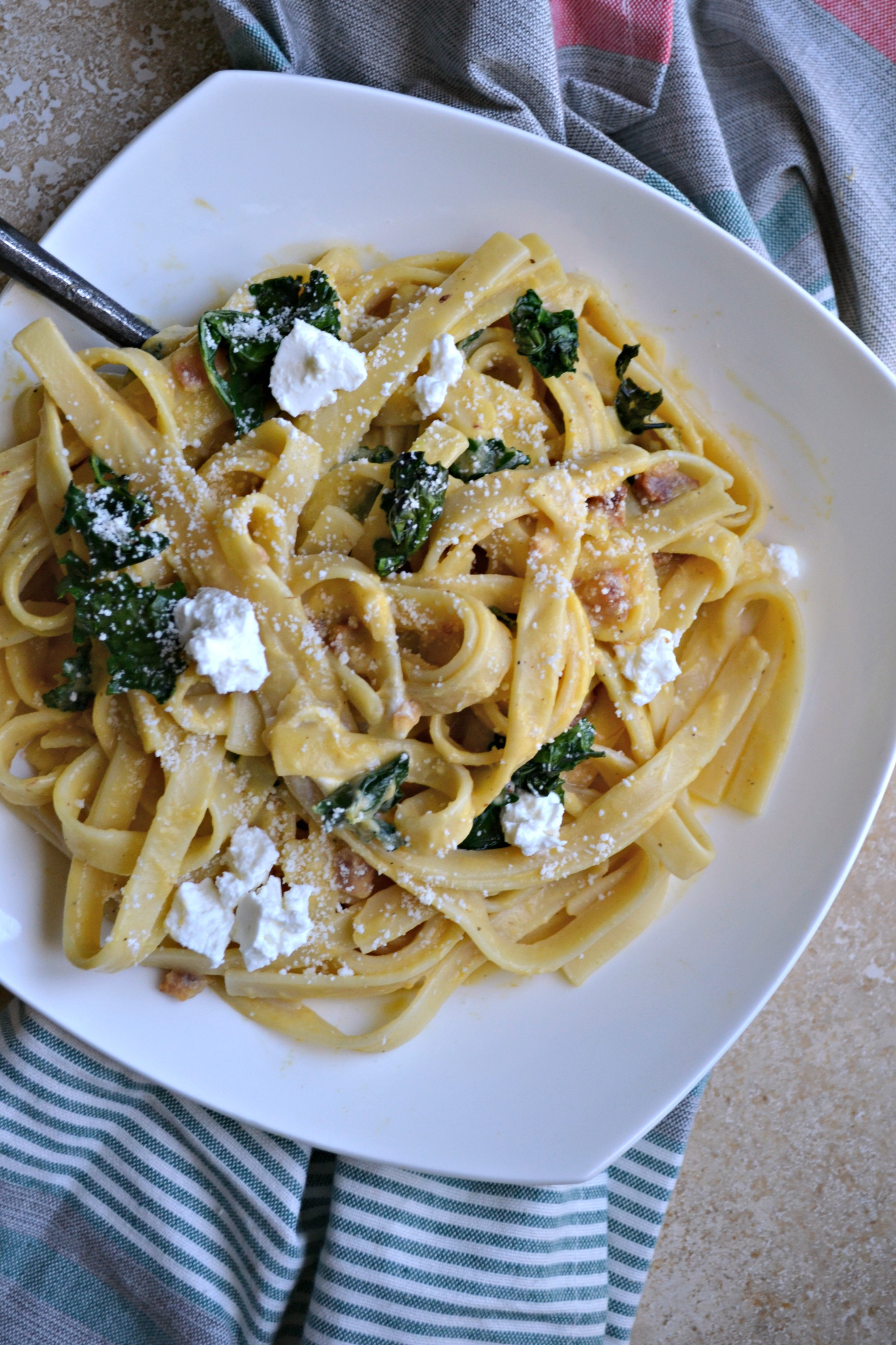 Butternut Squash Carbonara with Pancetta, Crispy Kale & Goat Cheese ...