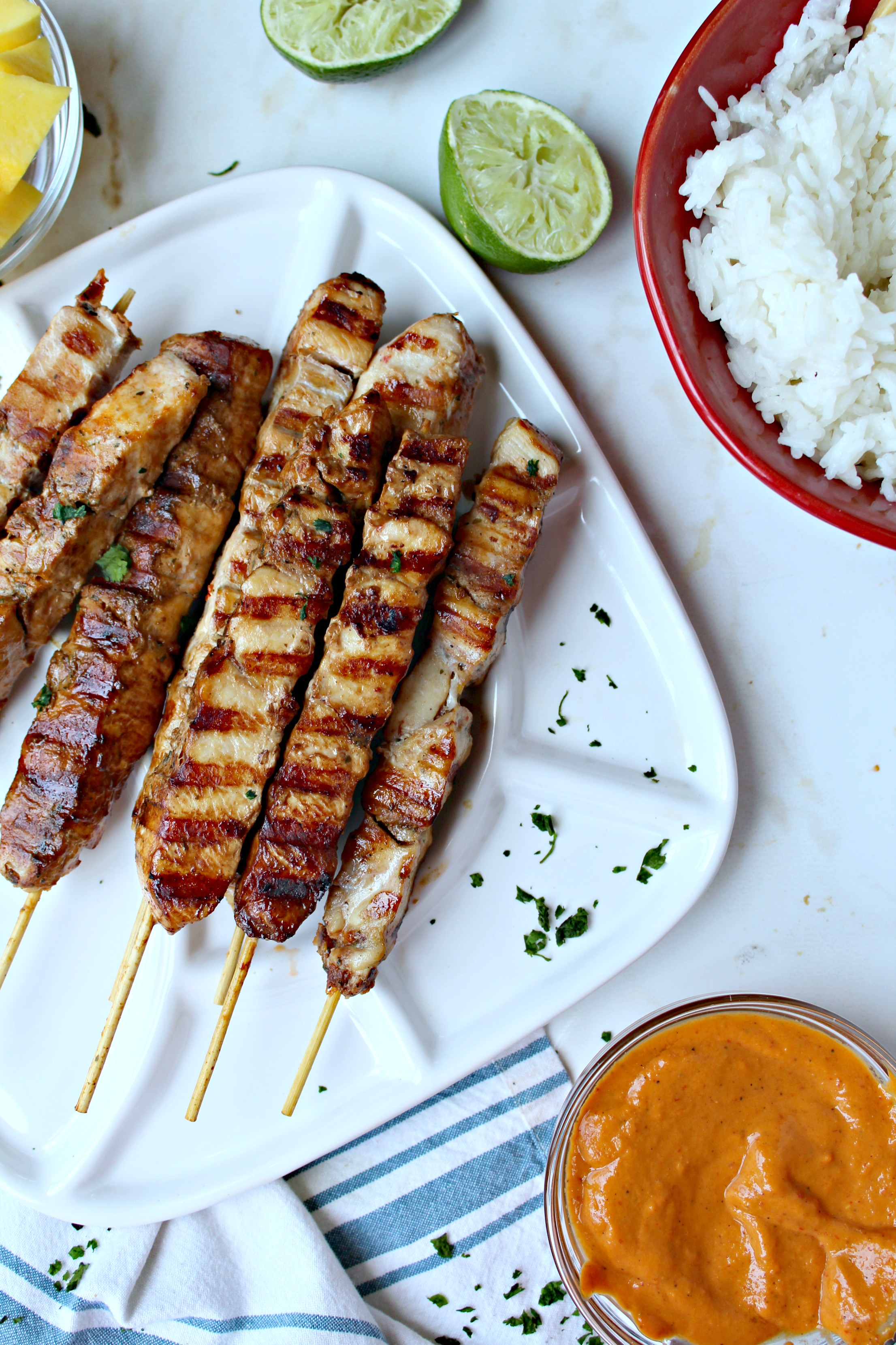Sweet BBQ Chicken Kabobs with Chipotle-Mango Sauce and Coconut Rice ...