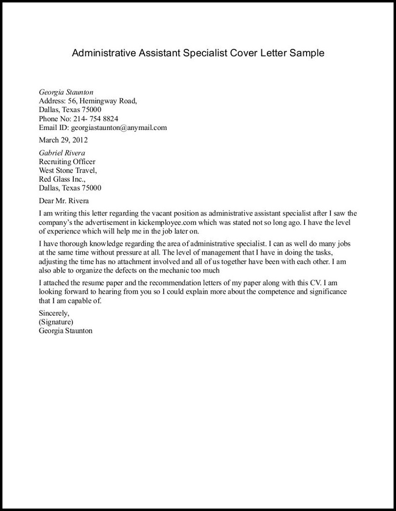 Administrative Assistant Resumes And Cover Letters Cover-letter